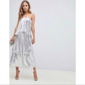 ASOS | bandeau sequin jumpsuit with tiered leg | 6